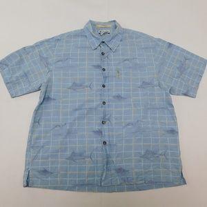 Columbia M Blue Button Down Shirt River Lodge Cott